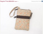 ON SALE Cell Phone Bag Small Crossbody Bag iPhone Shoulder Purse Cross Body Purse - Short Zip Cell Phone Bag - Fast Shipping- Orange Tea Ros