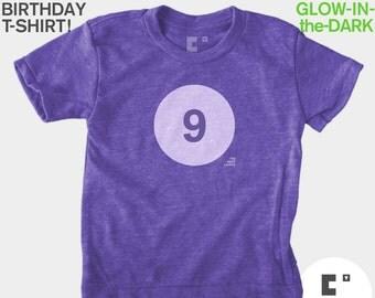 Ninth 9th Birthday TShirt, Kids Birthday TShirt, GLOW-IN-The-DARK, Girls Birthday, Birthday Number Tshirt, Kids Birthday Party Favor
