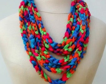 SALE Rainbow bright tie-dye Cowl loop rope chain Infinity Scarf Fiber necklace choker Hippie neck wear vegan