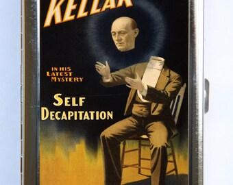 Vintage Magician Poster Cigarette Case Wallet Business Card Holder Keller Self Decapitation