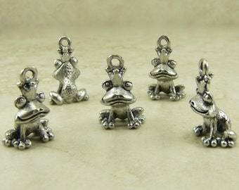 5 Sitting Frog Prince Charms - 3D Fairy Tale Princess Prince Charming - Raw Lead Free Pewter American Made - I ship Internationally