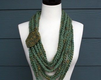 Crochet Scarf Pattern, Stylish Layered Chain