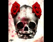 "Print 8x10"" - White Skull - Skull Skeleton Bones Roses Dark Art Horror Lowbrow Pop Flowers Cute Gothic Day of the Dead Macabre Death"