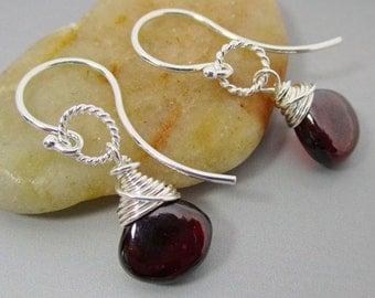 Mozambique Garnet Sterling Silver Earrings