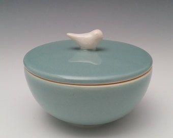 Ceramic Lidded Vessel with Bird