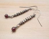Long Garnet Earrings, Antiqued Silver, Sterling Silver, Dangly Earrings, January Birthstone, Gemstone Jewelry,