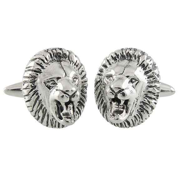 Fierce Lion Cufflinks, Sterling Silver, Handmade