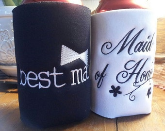 Maid of Honor and Best Man embroidered Can or Bottle insulators