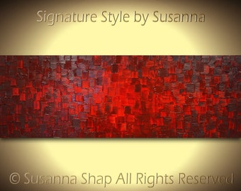 Huge Original Art Large Abstract Red Painting Textured Modern Palette Knife Painting 72x24 by Susanna
