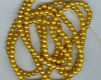 4mm Golden Yellow Glass Pearl Round Spacer Beads 32 Inch Strand Bead Spacers Pearls