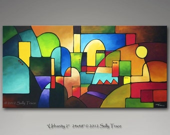 Abstract painting acrylic painting triptych by for Peinture mural original
