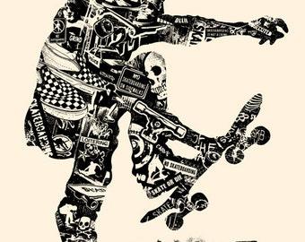 Skate Anatomy Skateboard Skater Ride or Die Extreme Sports Silk Screen Art Print Poster - Etsy