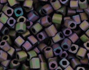 Toho 1.5 mm cube seed beads Frosted Metallic Iris Purple # 85f- 7Gm Tubed high quality japanese tiny glass cubes for weaving loom embroidery