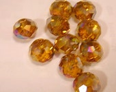 TOPAZ  AB  Faceted RONDELLE (10) 10MM Glass