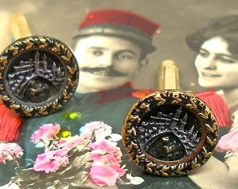 Train BUTTON cuff links, Victorian steam engine buttons on gold. Antique Button Jewelry.