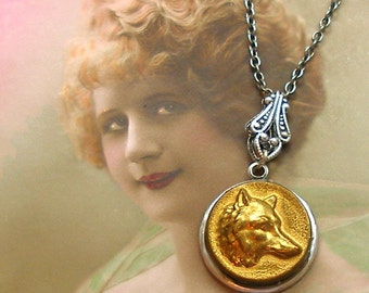 FOX Antique BUTTON necklace, Victorian Animal on silver chain. Antique button jewelry, jewellery.