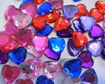 Rhinestone Cabochons (AB111) 60 Heart Rhinestone Beads 18mm for Valentines Crafts Embellishment Glue on