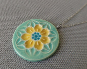wildflower necklace, aqua and yellow ... porcelain jewelry by Sofia Masri