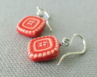milgrain earrings, blood orange ... handmade porcelain jewelry by Sofia Masri