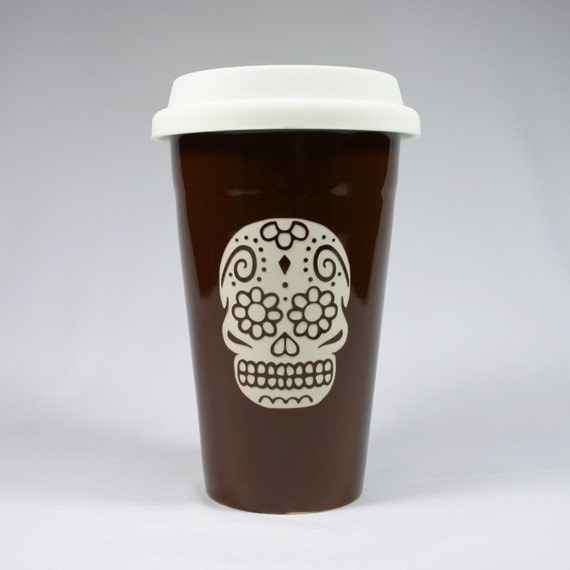 sugar skull travel mug brown ceramic coffee cup by