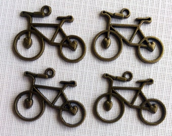 4 Antique Brass Bicycle Charms