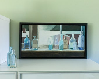 Still Life Oil Painting on Canvas Original Artwork Vintage Bottles Collection Realistic Oil Painting Glass Bottle Painting Fine Artwork