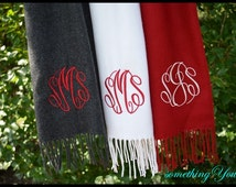 Personalized Scarf - Monogrammed Scarf Cashmere Feel Scarf with Initials Gray Scarf Ivory Scarf Cranberry Scarf Neck Warmer Neck Scarf