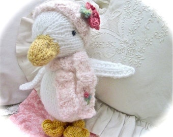 Knit Stuffed Animal, Duck Doll Hand Knit and Embroidered / Baby Jasmine, Early Morning Surprise!/Heirloom Collectible