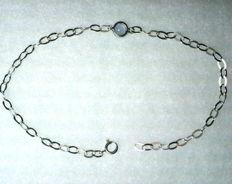 Ankle Bracelet 925 Sterling Silver Adjustable Anklet with Blue Chalcedony Cabochon Gemstone Charm