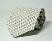 Boys Rainbow Stripe Necktie Seersucker Tie