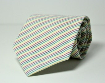 Boys Rainbow Stripe Necktie Seersucker Tie