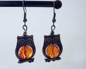Amber Owl Earrings Handmade
