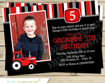 Red Case Tractor Photo Birthday Invitation - You Print