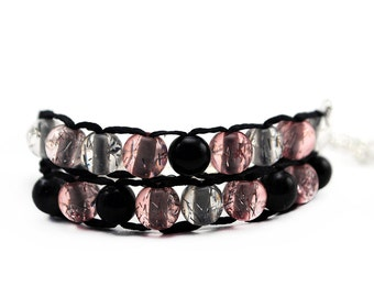 Pretty in Pink with Silver Clasp - Ablet Knitting Abacus - Row Counting Bracelet