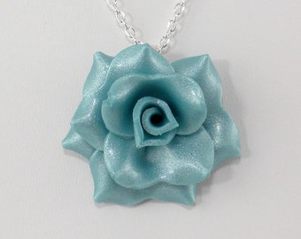 Light Turquoise Blue Rose Pendant - Simple Rose Necklace - Turquoise Rose Necklace - Wedding Jewelry - Polymer Clay Rose Pendant #292