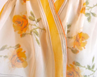 "Apricot Roses - a Sumi-e painted, vintage 1950's Vera Neumann Lucky Ladybug ""VeraSheer"" Silk Scarf"
