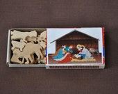Miniature Nativity Wooden Match Box Set Adorable