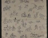 Furoshiki Green 'Playful Animals' Cotton Japanese Fabric 50cm w/Free Shipping