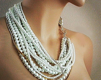 Bridal Statement Necklace, Chunky Pearl Necklace, Wedding Necklace Bridal Jewelry, Pearl Rhinestone, White and Gold, Silver Wedding Jewelry