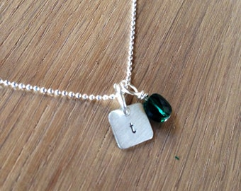 Square initial necklace with Birthstone