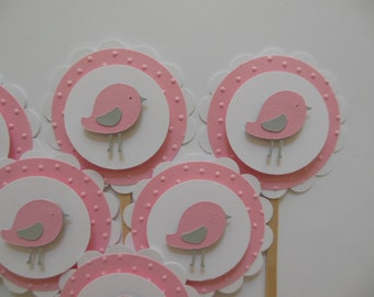 Bird Cupcake Toppers - Pink, Gray and White - Girl Birthday Decorations - Girl Baby Shower Decorations - Set of 6
