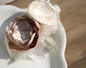 Fabric flower corsage, champagne and cream wrist corsage for mother of the bride or bridesmaid
