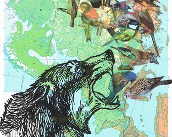 Wolf.Map Collage.Birds.Colourful.Atlas Page Print,home/deco.affordable,art,freebie.mom.dad.animal lover.birhday.traveller.globe.fantasy.eco