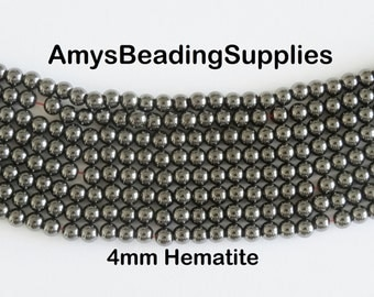 Super Magnetic Hematite 4mm Rounds, 16-Inch Strand