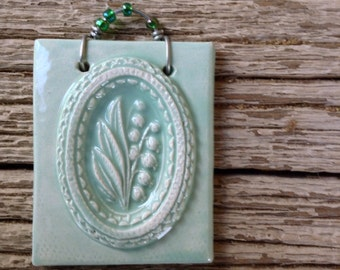 Lily of the Valley Mini Tile in Celadon