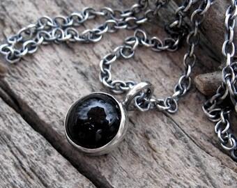 Black Onyx Button Necklace onyx necklace … sterling silver onyx necklace simple necklace black necklace
