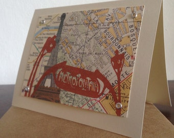 Paris Map Screen-Printed Greeting Card