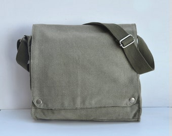 Tan  Blank Canvas messenger bag