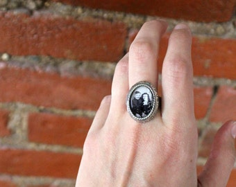Unisex Personalized Photo Ring - Adjustable, Antique Silver or Gold Tone - Customized with Your Photograph - Great for Dad, Husband, Mom