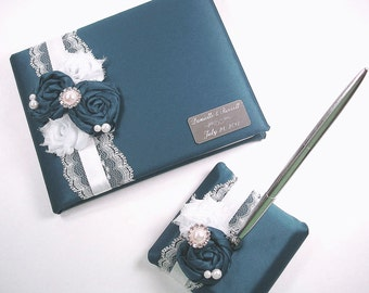 Personalized Wedding Guest Book and Pen Set, Teal Guest Book Set with Engraving